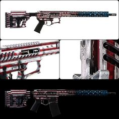 More War Torn American Flag on the F-1 Firearms LLC build for Dianna Muller-3 Gun. Also features a LUTH - AR stock. For more projects visit www.madcustomcoating.com.