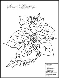 Color By Number Poinsettia