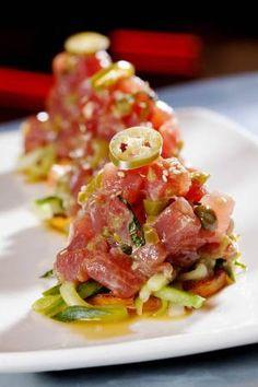 Tuna ceviche. Super rare. Yes. Thank you.