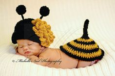 Newborn Photo Idea . . . Crochet Bumble Bee . . . Sweet for spring/summer or for Georgia Tech Football . . . Go Jackets!