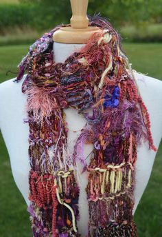 Original Dumpster Diva 'Dynasty' - Funky lightweight Skinny Scarf in bronze, peach, gold, salmon, yellow by rockpaperscissorsetc on Etsy