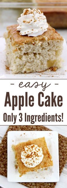 Apple Cake - Only 3 Ingredients! With only 3 ingredients, this Easy Apple Cake is perfect for Fall Baking!With only 3 ingredients, this Easy Apple Cake is perfect for Fall Baking! Easy Apple Cake, Apple Cake Recipes, Cake Mix Recipes, Baking Recipes, Apple Recipes Easy, Apple Ideas, Apple Cakes, Baking Ideas, Easy No Bake Desserts