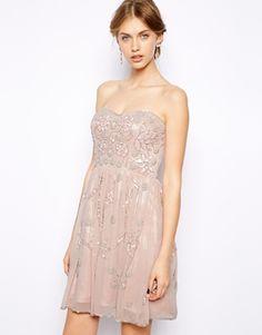 Valentines Day Dress:  Frock and Frill Embellished Bandeau Skater Dress - Dusky pink