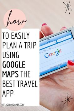 Planning a trip? Find out the best travel app to make trip planning a breeze. After reading this post you will know all the travel tips to using Google maps for easy travel planning. Get the travel tips and tricks to using this best travel app right here. Google Maps // Trip Planning // Travel Hacks // Travel Tips // Travel Hacks And Tips // Travel Apps Best Travel Apps, Travel Tips, Travel Hacks, Airplane Travel, Travel Planner, Travel Packing, Step Guide, Trip Planning, How To Plan