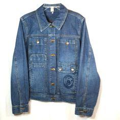 Caribbean Joe Jean Jacket Womens CJ Blue Large Denim Coat Embroidered Pocket #CaribbeanJoe #DenimJacket #Casual