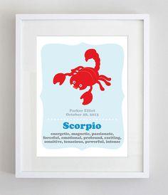 Custom Zodiac Birth Print in 8x10 - Scorpio Art Print. Price: $18.00