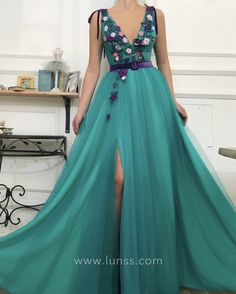 Handmade embroidered 3D flowers embellished teal tulle ball gown party and evening prom dresses with handmade belt. Sleeveless, deep V neckline, thigh-high slit.