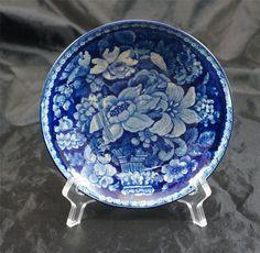 1820 Antique Dark Blue Historic Staffordshire Transferware Basket of FLOWERS #