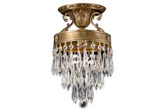 "Crystorama | Ornate Semi-Flush Mount, Brass | hand cut & polished crystals | aged brass finish frame | 7""dia x 12""h 