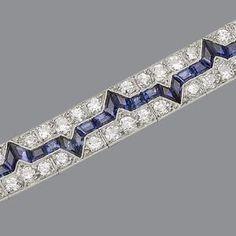 An art deco diamond and sapphire bracelet, circa 1925
