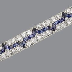 An art deco diamond and sapphire bracelet, circa 1925