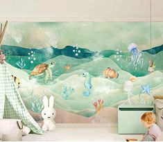 Mural 3D Cartoon Sea Turtle Wallpaper For Kids room  Price: 76.80 & FREE Shipping  #Jewelry #Watches #Watches #Earrings