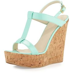 Dee Keller Erin Cork Leather Wedge (1,330 MXN) ❤ liked on Polyvore featuring shoes, sandals, wedges, heels, ankle strap sandals, leather wedge sandals, open toe heel sandals, heeled sandals and cork sandals
