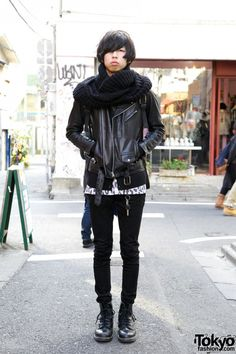 Cool Harajuku Guy in Black Leather Jacket, Skinny Jeans & Boots