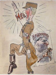"""George Grosz. Heil! (Race Defilement). 1934. Watercolor and ink on paper. Signed, dated and inscribed, """"to my old, dear friend Lix [Felix Weil], Merry X-mas 1948, Böff, Huntington,"""" lower right. 25"""" x 18"""" (63.5 x 45.7 cm)."""