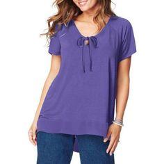 Just My Size Women's Plus-Size Chiffon Trim Tunic, Size: 2XL, Purple