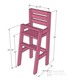 Detailed plans/masurements for basic doll high chair I could adapt and miniaturize Baby Doll Furniture, Furniture Plans, Kids Furniture, Green Furniture, Doll High Chair, Baby Chair, Desk Chair, Swivel Chair, Bois Diy