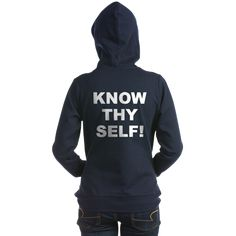 (BACK) Women's dark color navy blue zip hooded sweatshirt with Know Thy Self theme. The Know Thy Self phrase is a spiritual esoteric saying reminding the individual that inner truth and awareness is important to understanding our existence. Available in black, navy blue, charcoal heather grey; small, medium, large, x-large, 2x-large size for only $48.99. Go to the link to purchase the product and to see other options – http://www.cafepress.com/stkts