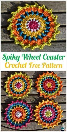 Crochet Spiky Wheel Coaster Free Pattern - Crochet Coasters Free Patterns