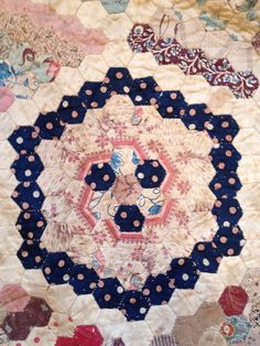 antique diamond hexagon quilt, looks whipstitched, probably English paper pieced
