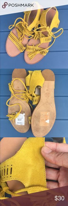 Caslon Suede Sandals- 10 Calson sandals from Nordstrom. Super pretty yellow suede with Lace Up and tassel detail. Size 10. Worn once, has small mark on inside of right sandal (see picture) otherwise excellent condition. Nordstrom Shoes Sandals