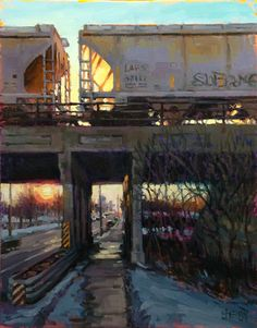 """The Dorothy Driehaus Mellin Fellowship for Midwestern Artists $20,000 This fellowship is provided through a generous contribution by The Richard H. Driehaus Foundation for an OPA artist residing in Illinois, Indiana, Iowa, Michigan, Minnesota, Ohio and Wisconsin. Shelby L. Keefe """"Other Side of the Tracks"""" $3,200 28"""" x 22"""""""