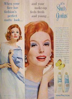 Max Factor 'Sheer Genius' Makeup Ad, 1961