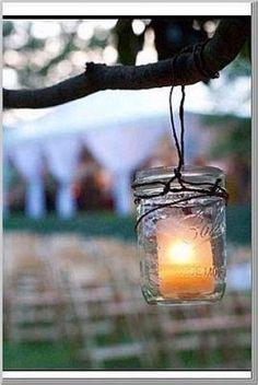 Mason jars = fave Mason Jar Lanterns, Hanging Mason Jars, Mason Jar Lighting, Mason Jar Diy, Candle Jars, Candle Holders, Candle Lighting, Tea Candles, The Art Of Marriage
