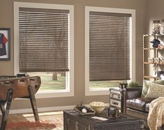 Wood Blinds - Our Wood Blinds feature a fashion-forward palette of rich paints and modern stains. Tilt them shut for privacy and light control or open the vanes to enjoy light and a view of the outdoors. We'll introduce you to one of our very own interior designers to discuss genuine wood vs. faux composites, while helping you select the perfect color, vane size and lift system.
