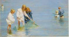 Children Catching Monnows --Charles Courtney Curran (1861 - 1942)