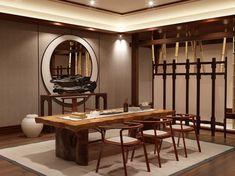 新中式茶室桌椅组合[ID:1940]