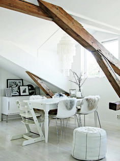 Another great Scandanavian interior: rustic, elegant, modern, ethnic with white, the key to the whole thing....