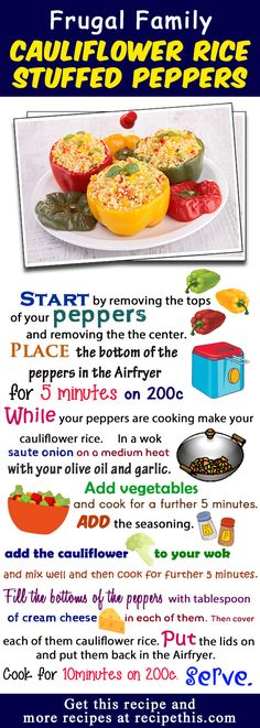Cauliflower Rice Stuffed Peppers Budget Recipe via @recipethis
