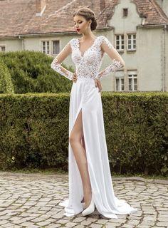 Beformal.com.au SUPPLIES Elegant Pure Embriodery A-Line Floor-Length V-Neck Wedding Dress A Line Wedding Dresses
