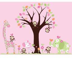 Girls Pattern Tree and Jungle Animals Decals - Vinyl Wall Art Decal Sticker