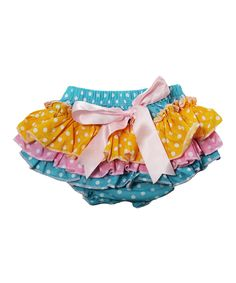 Dress Up Dreams Boutique Blue & Yellow Polka Dot Ruffle Bloomers - Infant by Dress Up Dreams Boutique #zulily #zulilyfinds