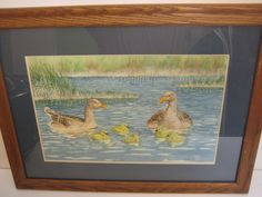Original Watercolor Painting Ducks & Baby Ducks, Signed by Strand 1985, Framed