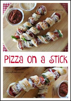 This Pizza on a Stick has all your favorite pizza toppings on a skewer wrapped in pizza crust!     http://www.myturnforus.com/2015/10/pizza-on-stick.html