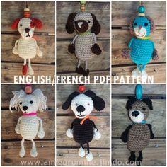 English / French PDF PATTERN Chiens amigurumi crochet, bijou de sac, porte clés, doudou, peluche, magnet de la boutique AmiguruMINE sur Etsy