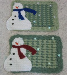 Snowman Place Mat Free Crochet Pattern Crochet Winter, Holiday Crochet, Crochet Home, Crochet Gifts, Free Crochet, Knit Crochet, Crochet Placemat Patterns, Crochet Stitches, Knitting Patterns
