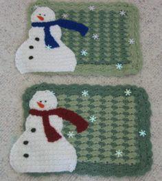 Snowman Place Mat Free Crochet Pattern