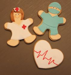 these would be cute for a Fave nurse or doctor. Cookie Icing, Royal Icing Cookies, Cupcake Cookies, Iced Sugar Cookies, Ginger Cookies, Kinds Of Cookies, Cut Out Cookies, Nurse Cookies, Horse Treats