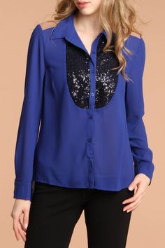 Long Sleeve Button Down Chiffon Top