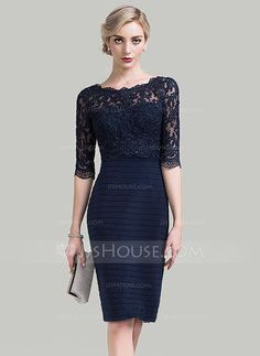 [US$ 147.49] Sheath/Column Scoop Neck Knee-Length Lace Mother of the Bride Dress With Sequins (008089152)