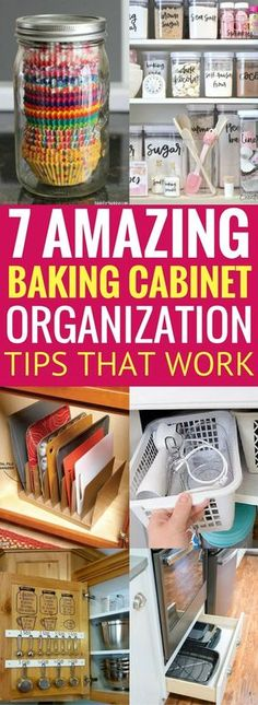 Learn how to effectively organize your baking cabinets so that you can get it in order and have more space. These organization ideas and hacks for the home will save you tons of time and money too! It worked for me, it will most likely work for you too! Baking Organization, Organization Station, Small Space Organization, Home Organization Hacks, Organizing Your Home, Organizing Ideas, Cleaning Hacks, Cleaning Checklist, Storage Ideas
