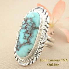 Elongated Dry Creek Turquoise Stone Ring Size 9 1/4 Thomas Francisco Four Corners USA OnLine Native American Silver Jewelry NAR-1438