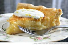 Lemon Chess Pie   Ezra Pound Cake. Tastes like sunshine on a plate.