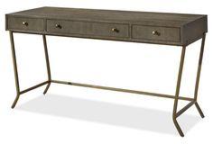 Whitney Writing Desk, Oak/Gold