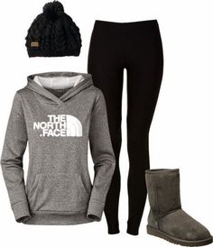 Stylish Gray Comfy Hoodie with Black Leggings, Beanie Hat and Fashionable Ugg Boots