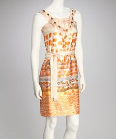 Take a look at this Orange & Cream Flower Dress by Madison Paige on #zulily today!